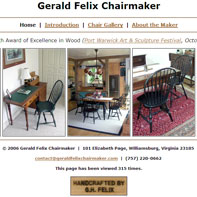 Screen capture of Gerald Felix Chairmaker