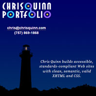 Screen capture of Chris Quinn's Portfolio
