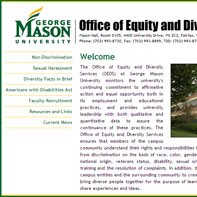 Screen capture of George Mason University's Office of Equity and Diversity Services